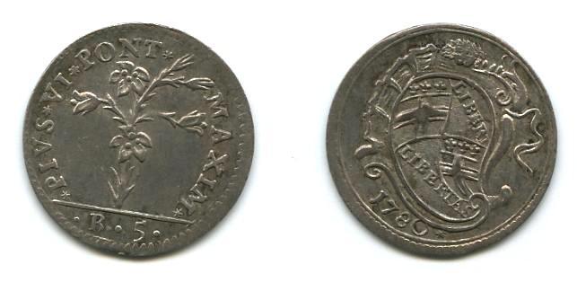 Carlino da 5 bolognini, Pio VI-1780