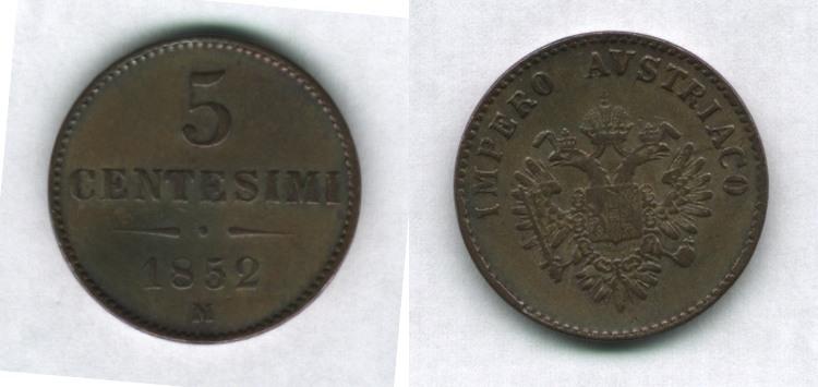 5 centesimi 1852, Francesco Giuseppe I° d'Asburgo-Lorena