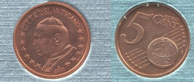 Vaticano 5 cent 2002-2005