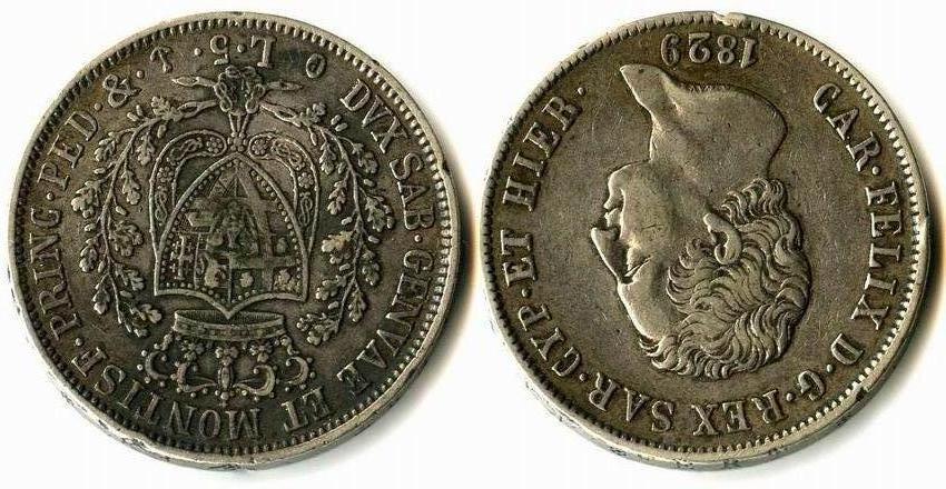 Regno di Sardegna-Carlo Felice-1829-Lire 5-Genova