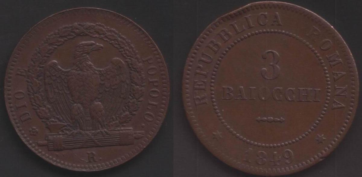 II Repubblica Romana (1849)  3 Baiocchi