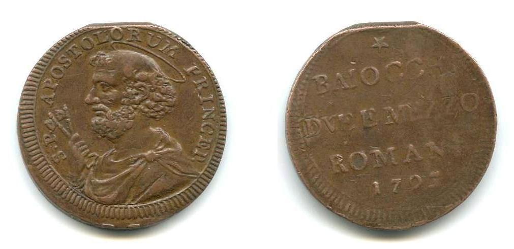 Sampietrino da 2 1/2 baiocchi; Pio VI-1795