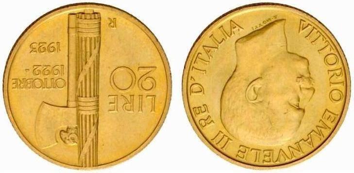 Fascetto - Lire 20 1923 - V.E.III Regno d'Italia