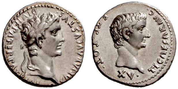 Augusto Denario con Tiberio - Lugdunum