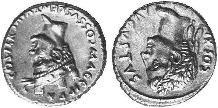 Denario Augusto e Agrippa