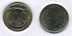 100 Lire Italia Turrita 1993 - Variante testa piccola