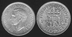 Sixpence - re Giorgio VI - I tipo
